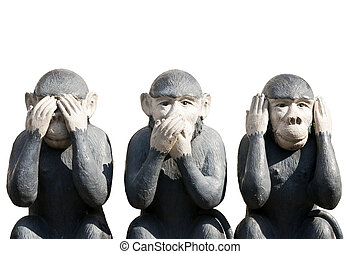 scimmie, intagliato, tre