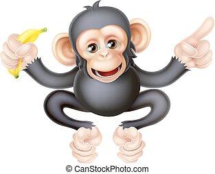 scimpanzé, cartone animato, indicare, banana