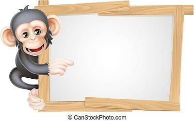 scimpanzé, cartone animato, segno