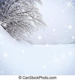 scintilla, albero, neve, fondo, coperto