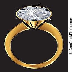 scintilla, anello, vettore, diamante