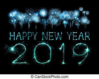 scintilla, firework, 2019, anno, nuovo, felice