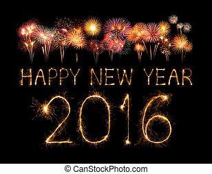 scintilla, firework, anno, nuovo, 2016, felice