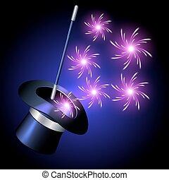 scintilla, prestigiatore, fireworks, cappello