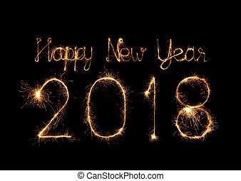 scintilla, scritto, firework, 2018, anno, nuovo, felice