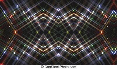 A geometric kaleidoscopic interpretation of fireworks in night sky with light rays.