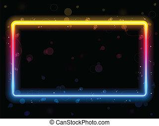 scintille, arcobaleno, rettangolo, bordo, swirls.