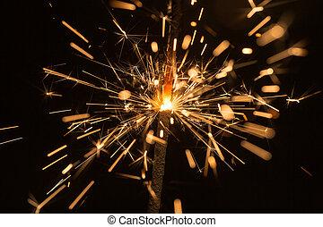 scintille, fuoco, luminoso, bengala