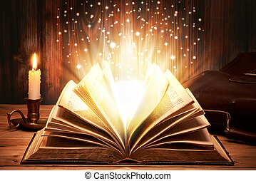 scintille, libro, vecchio, magico