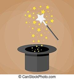 scintille, magia, stelle, bacchetta, cappello