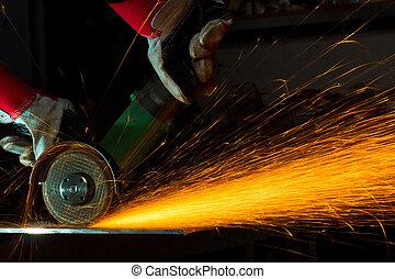 scintille, mentre, rettifica, ferro