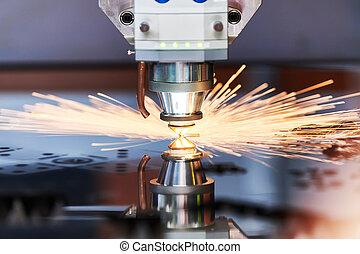 scintille, metallo, cutting., lavorazione a macchina, laser