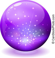 scintille, sfera, viola, interno., lucido