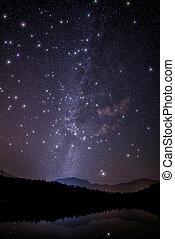 scintillement, énorme, manière, étoiles, laiteux