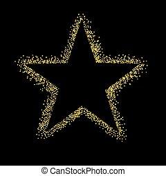 scintillement, étoile, isolé, fond, noir