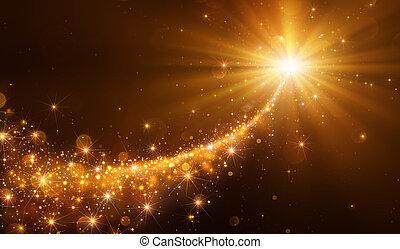 scintillement, étoile, noël, doré