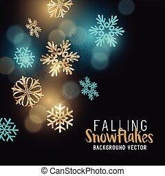 scintillement, flocons neige, or, hiver