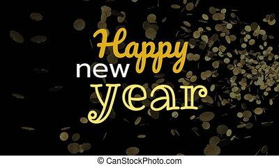 scintillement, heureux, année, nouveau, contre, 4k, signe