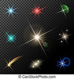 scintillements, lumières, étoiles