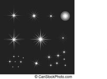 scintillements, noir, incandescent, ensemble, vecteur, étoiles, lumière, arrière-plan., concentrations, effet
