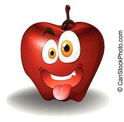 sciocco, mela, faccia