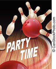 sciopero, bowling, 3d, illustrazione