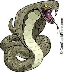 sciopero, circa, cobra, illustrazione, serpente