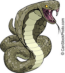 sciopero, circa, cobra, illustrazione, serpente
