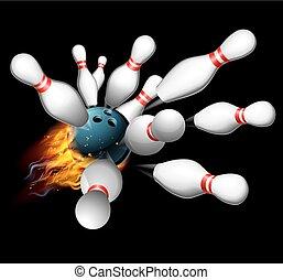 sciopero, concetto, bowling