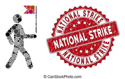 sciopero, uomo, collage, francobollo, bandiera, guida, textured, nazionale