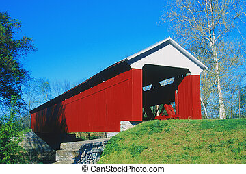 Scipio Covered Bridge spans the Sand Creek, 148 Feet in...