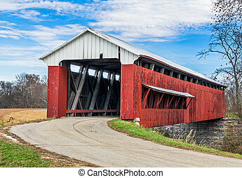 The Scipio, Indiana Covered Bridge, constructed in 1886, crosses Sand Creek in Jennings County, Indiana.