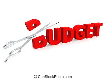 Scissor and budget - Rendered artwork with white background