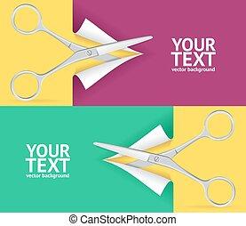 Scissor Banner Set. Vector