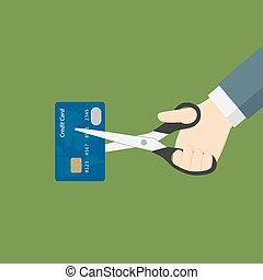 scissor, découpage, carte de débit, main