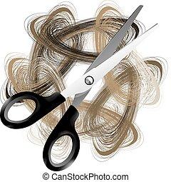 scissor, e, cabelo