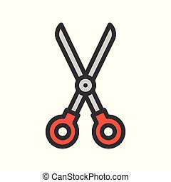 Scissor, Filled outline icon, carpenter and handyman tool and equipment set