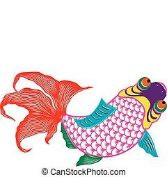 scissor, fish, coupure, oriental