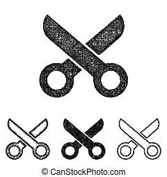 Scissor icon set - sketch line art