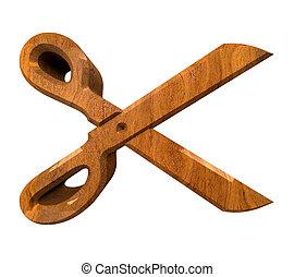 Scissor in wood - 3d