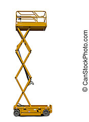 Scissor Lift Platform - A large yellow extended scissor lift...