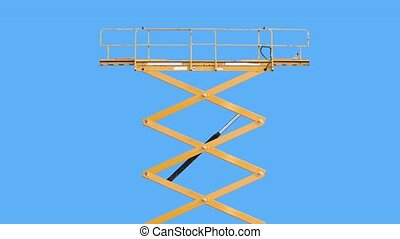 Scissor Lift Or Cherry picker Rising Then Lowering, With Chroma Key Background