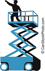 Scissor Lift Worker Pointing Retro