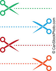 Scissor Line Colors - Scissor and dotted line in various...