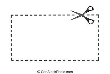 scissor, linie, punktiert