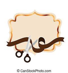 scissor, marco, cinta, fondo blanco