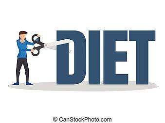 scissor, perda peso, menina, conceito, gigante, usando, dieta, block., corte