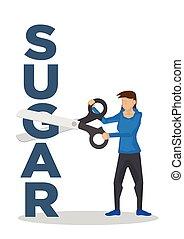 scissor, peso, loss., açúcar, menina, conceito, gigante, usando, block., corte