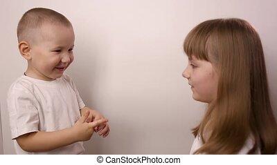 scissor, rire, blanc, heureux, fond, jeu, enfants, papier, sourire, rocher, jeu