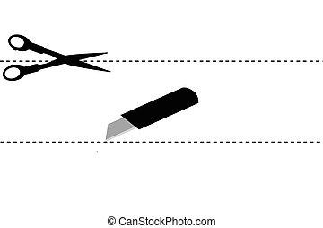 scissor, señal, simple, corte, aquí